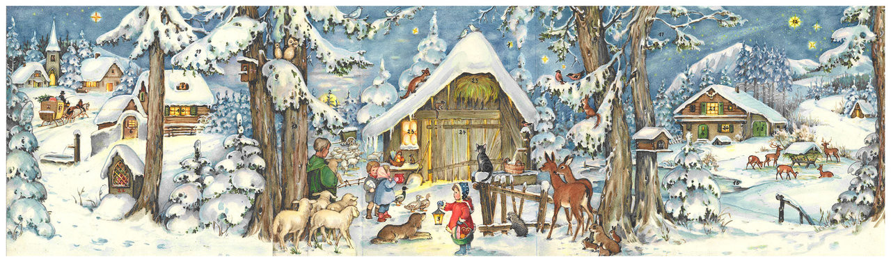 """27"""" Wide Journey to the Stable German Advent Calendar"""