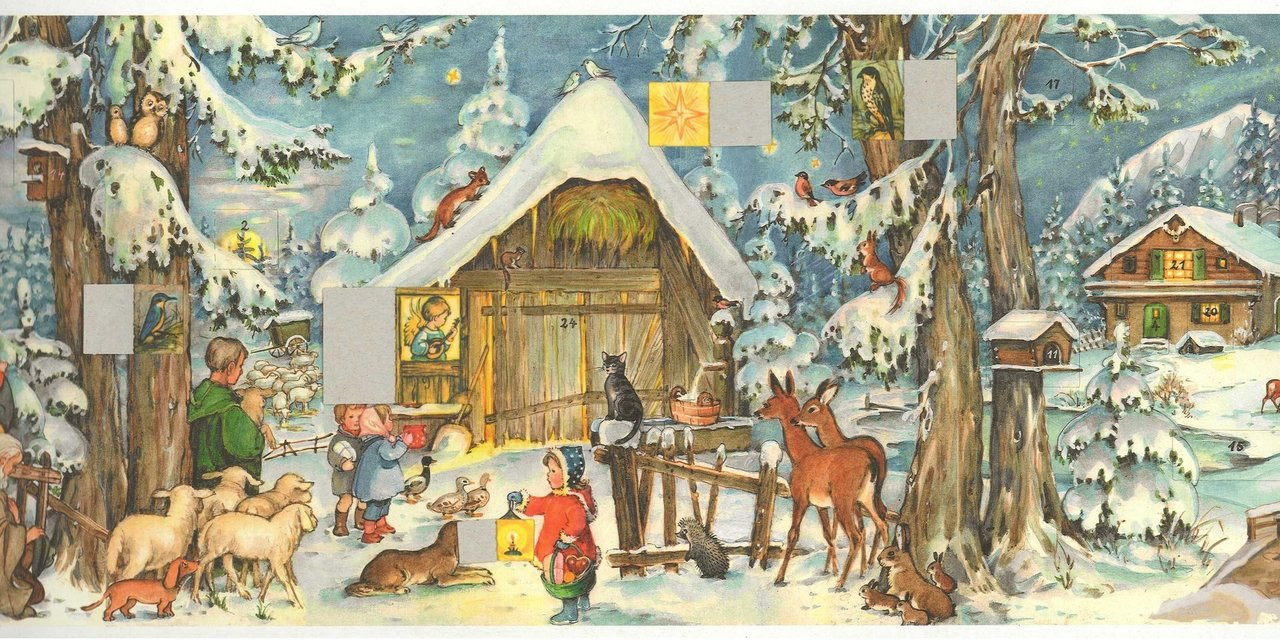 German Advent Calendar with Open Windows