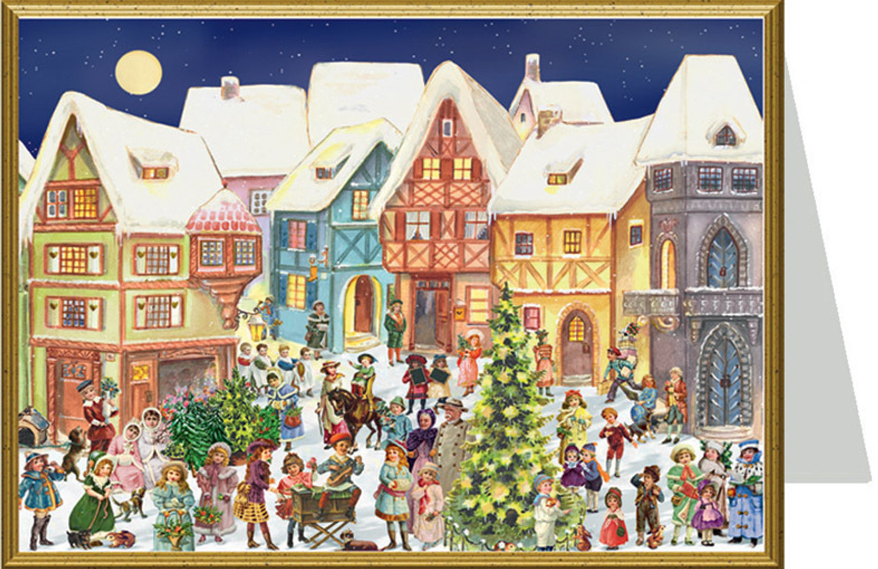 Victorian Village During Christmas Time Christmas Card