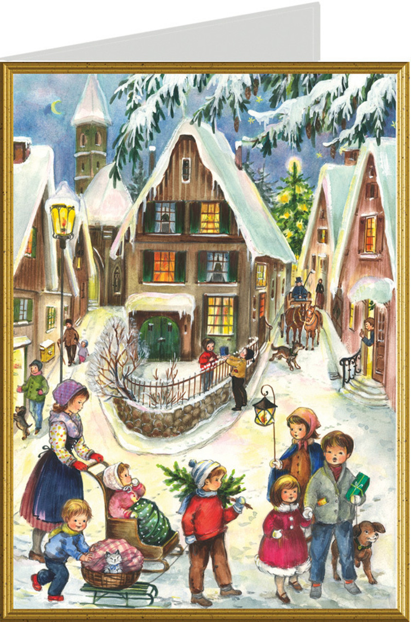 Classic German Village at Christmastime Card