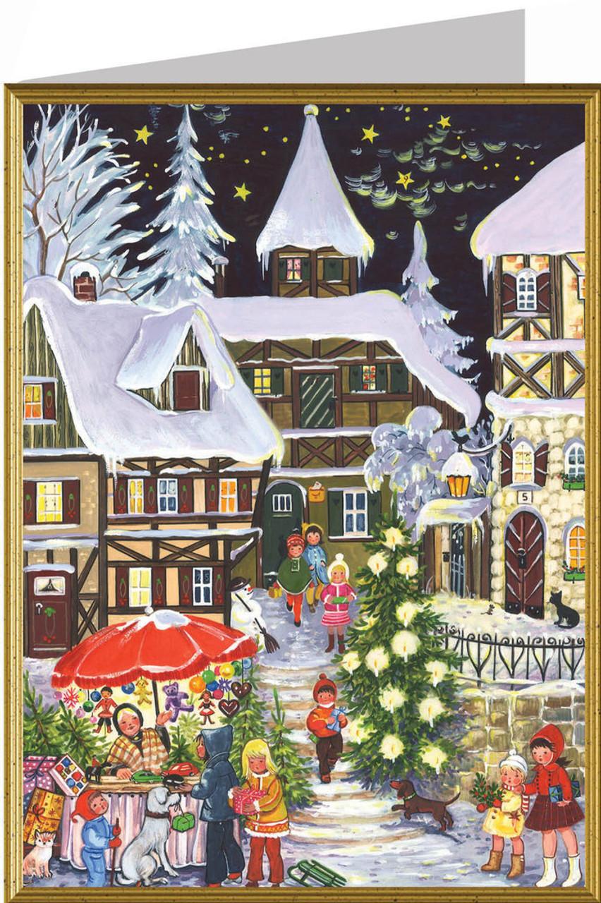 German Village with Christmas Tree Christmas Card