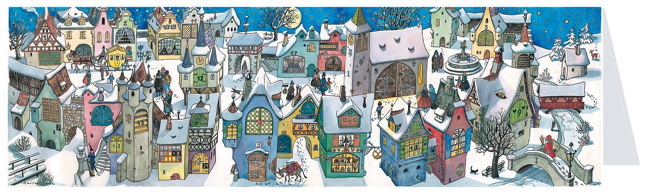 "13.5"" Wide Panoramic German Town Christmas Card"