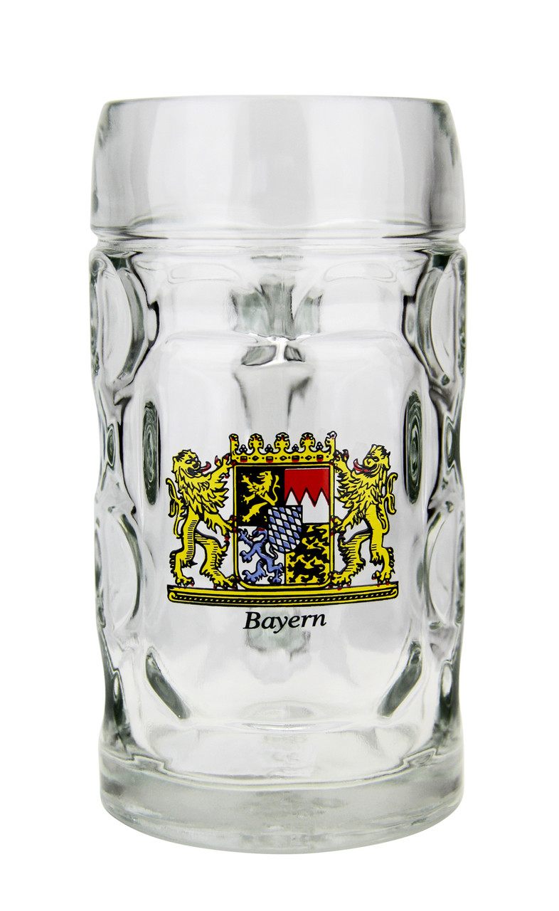 Dimpled Personalized Glass Beer Mug with Handle