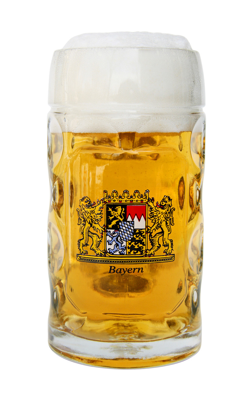 Beer Filled Traditional Dimpled Beer Mug with Bayern Crest