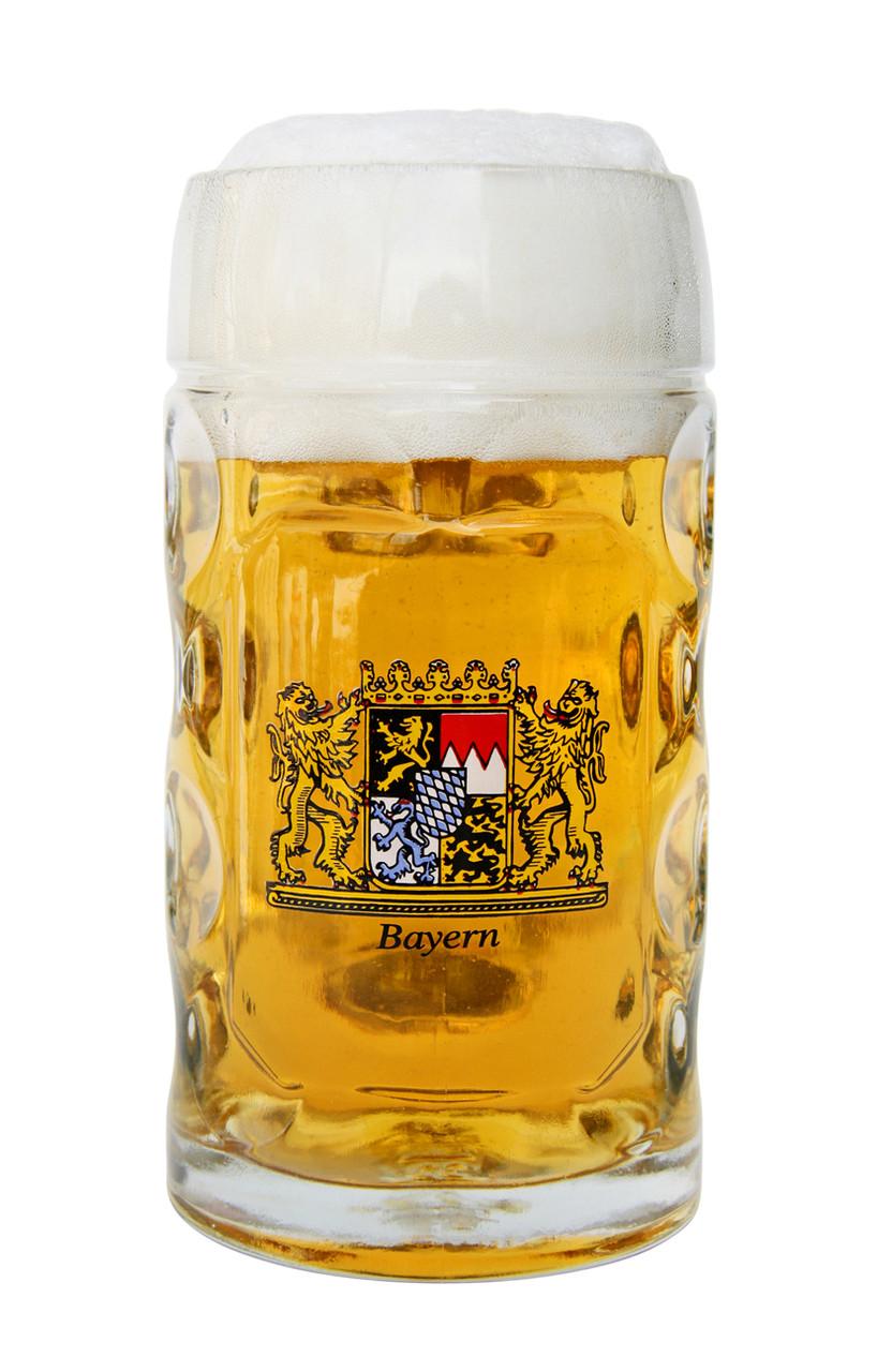 Beer Filled Traditional Dimpled Beer Mug with Bayern Crest