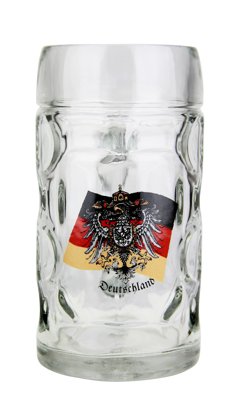 Glass Beer Stein with Traditional German Crest
