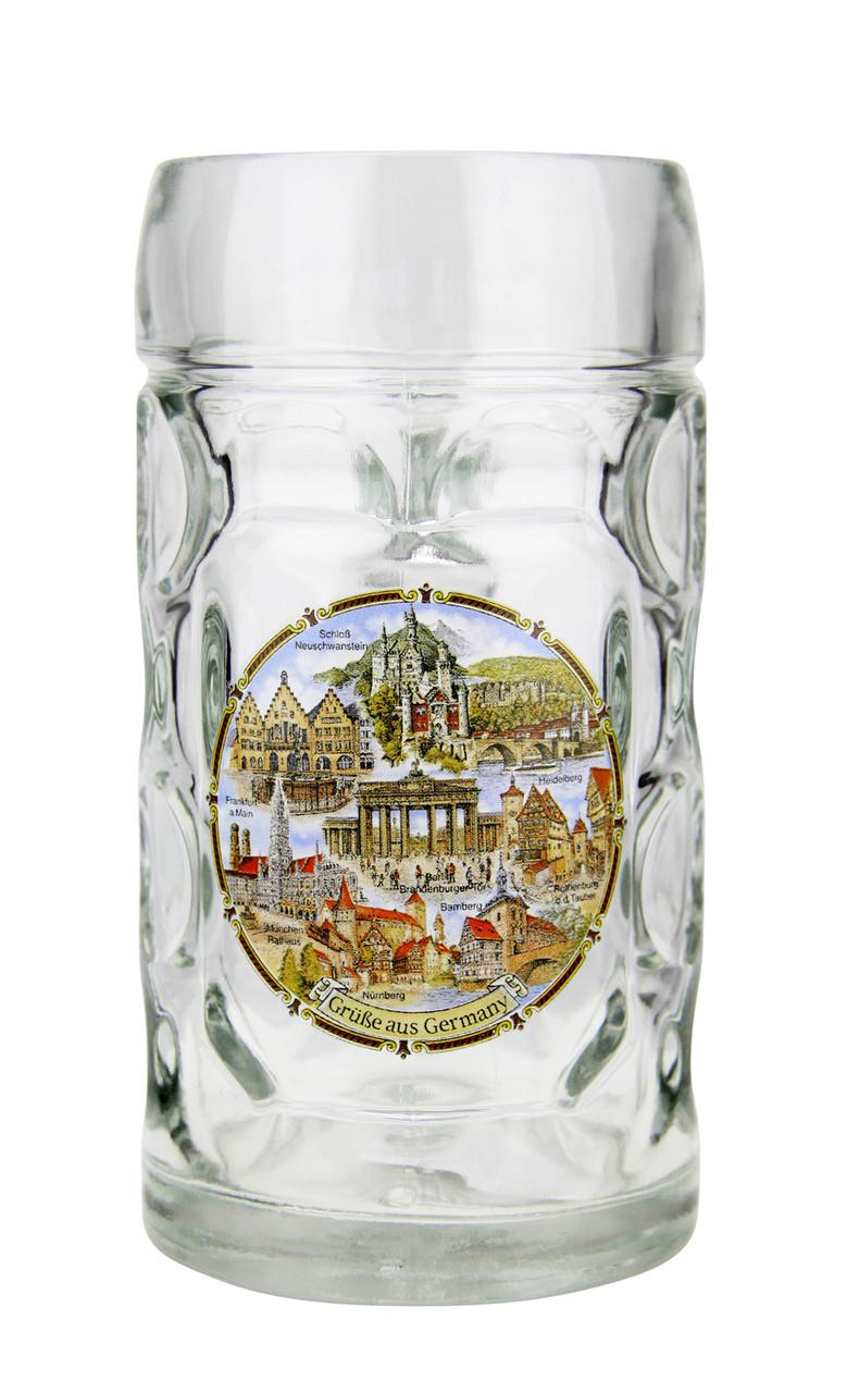 .5 Liter Traditional Mass Krug with German Landmarks