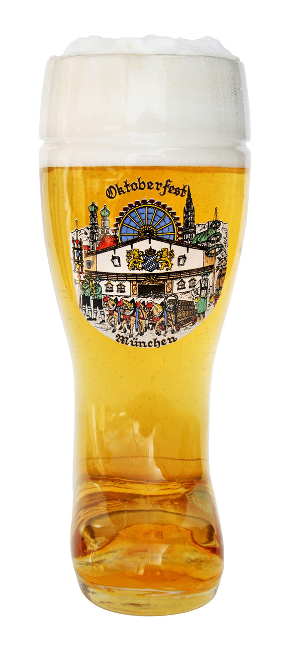 Front View of Authentic 0.5 Liter Beer Boot with Munich Decoration