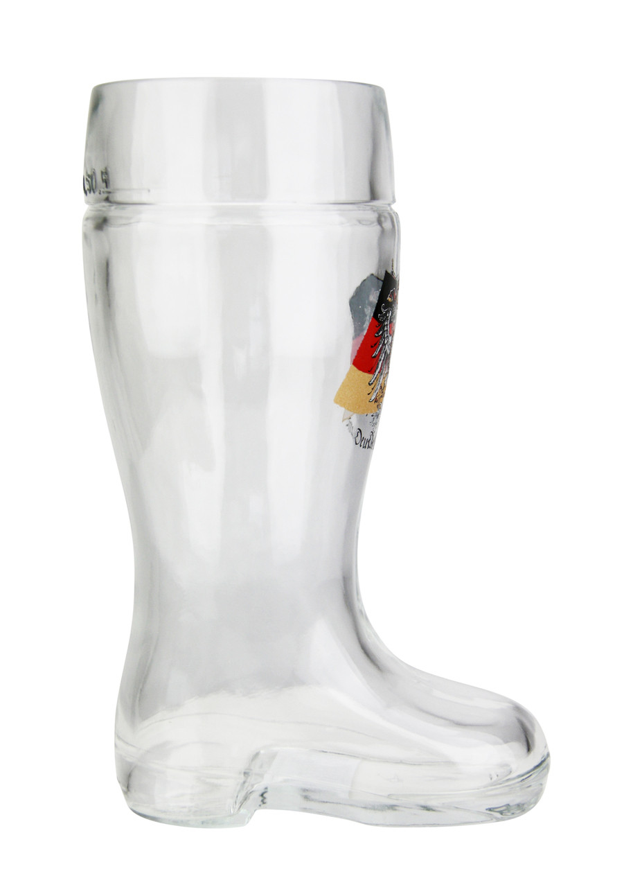 Side View of .5 Liter Glass Beer Boot