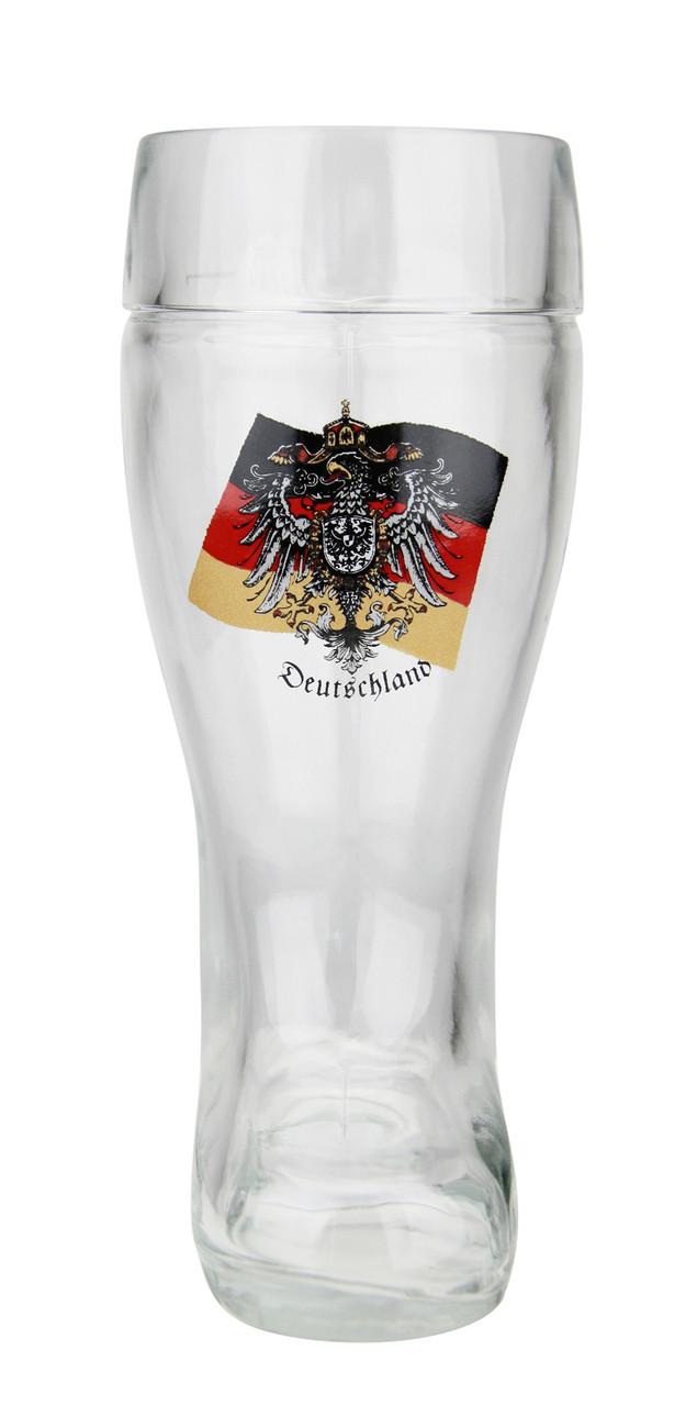 German Eagle Flag Crest Glass Beer Boot 0.5 Liter