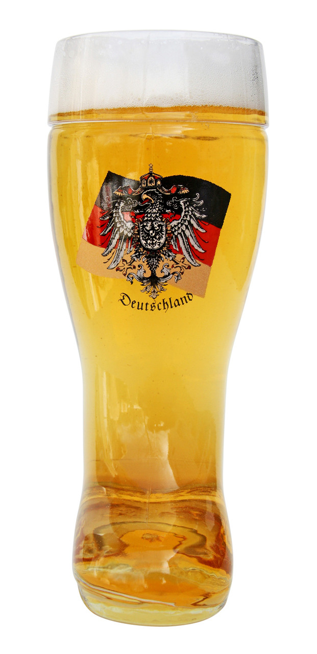 Authentic German Beer Boot with Eagle and Flag