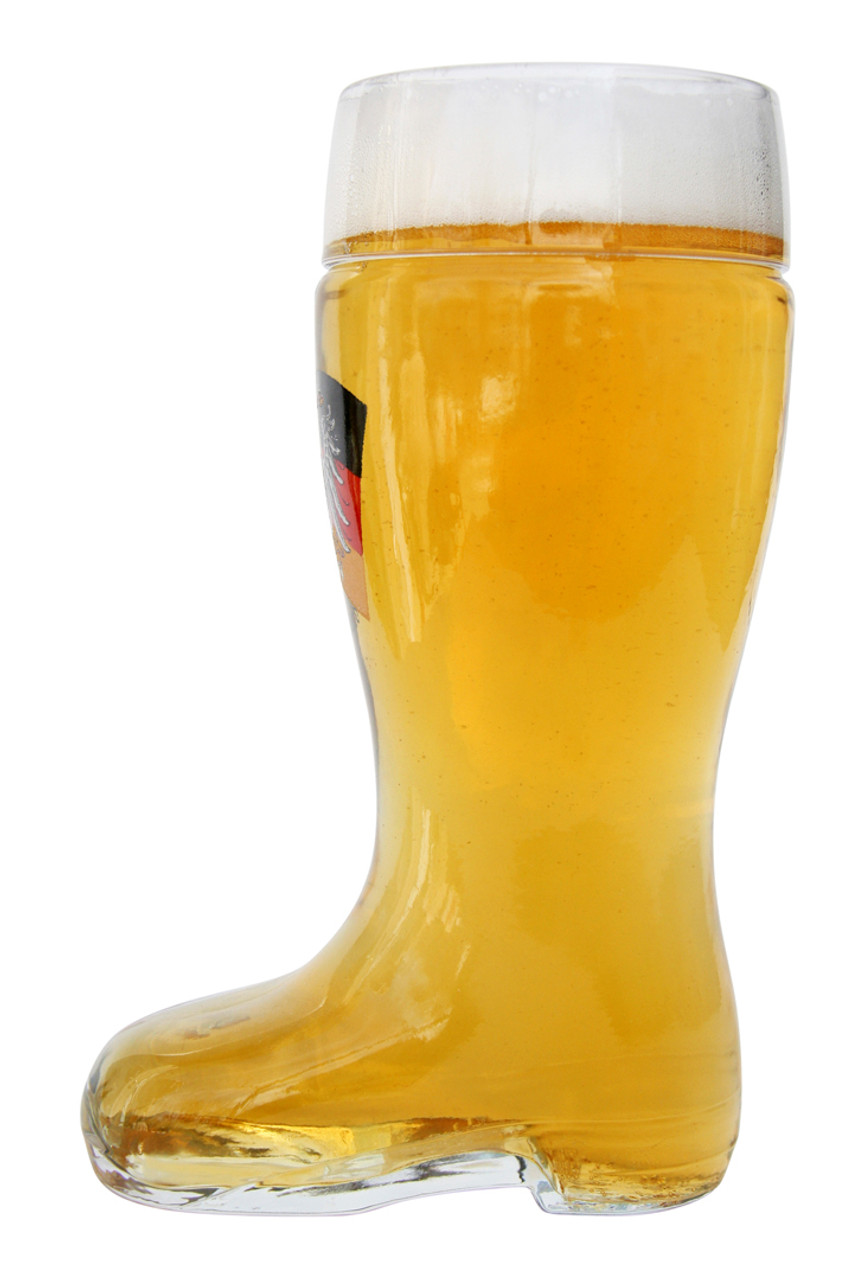 Personalized Glass Beer Boot with German Flag