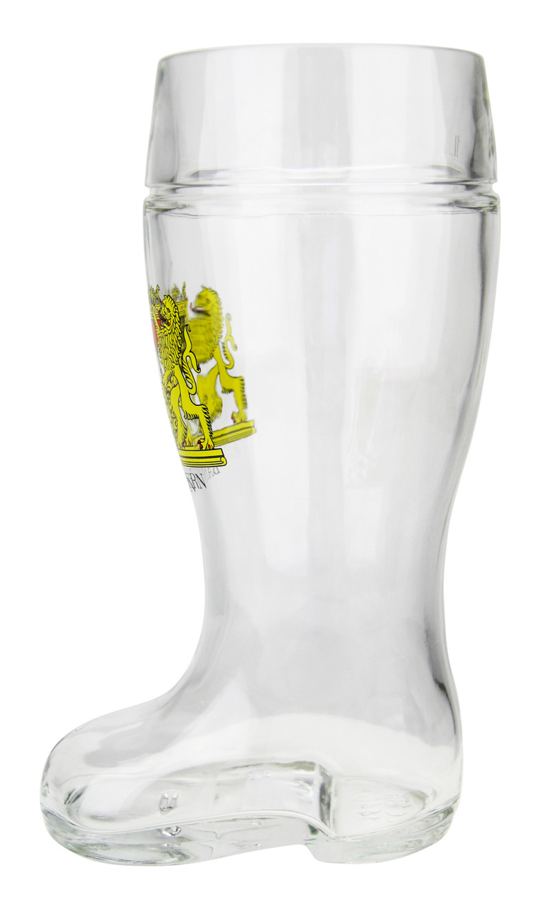 Traditional German Glass Beer Boot 1 Liter
