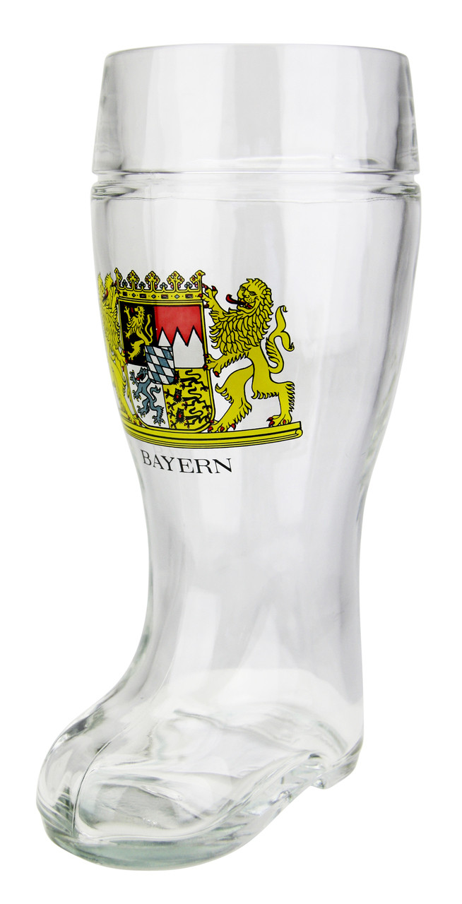 Bavaria Crest German Glass Beer Boot 1 Liter