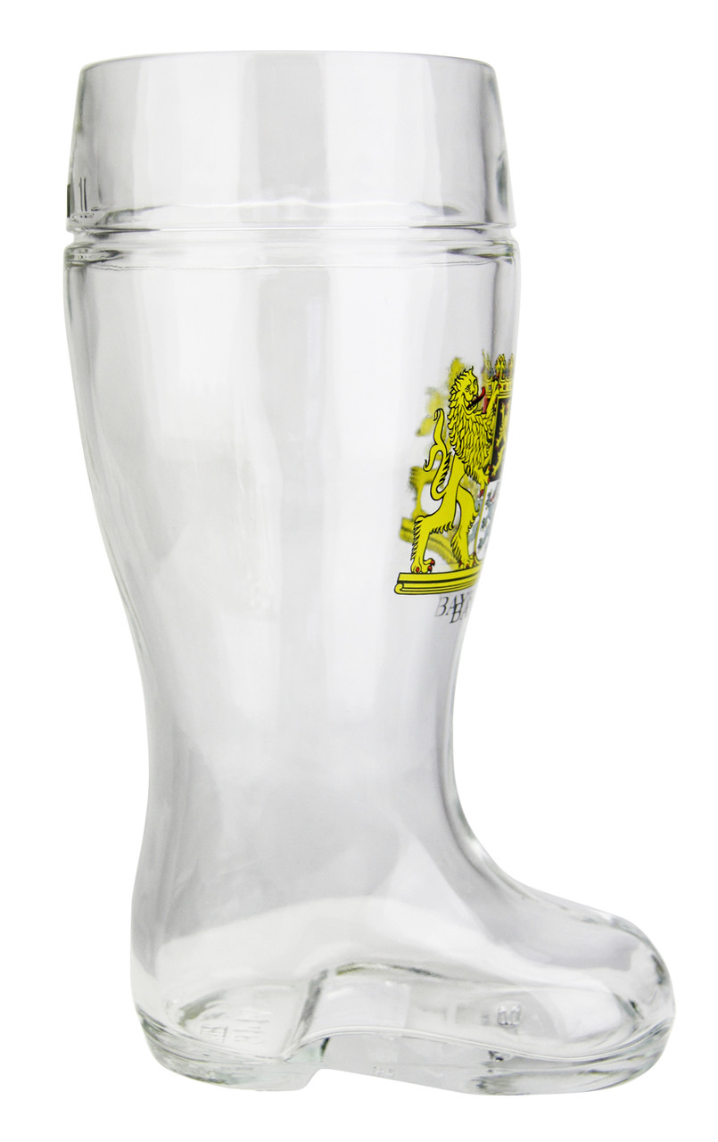 German Glass Beer Boot with Bavaria Crest Personalized