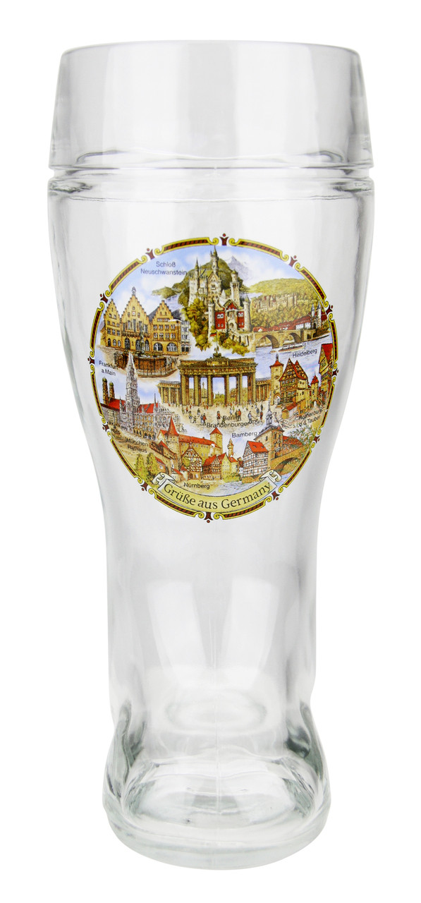 1 Liter Glass Beer Boot with Traditional German Landmarks