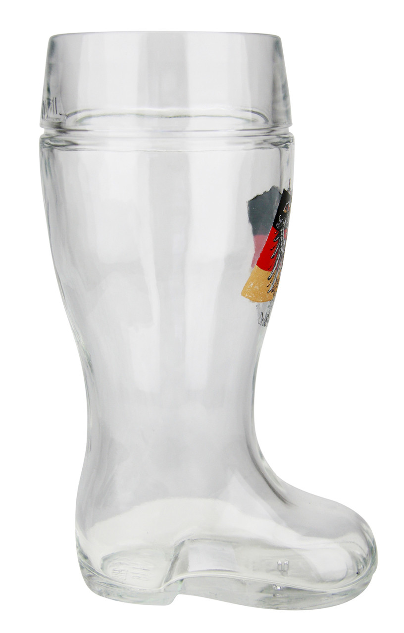 Glass Beer Boot with Traditional German Flag and Eagle