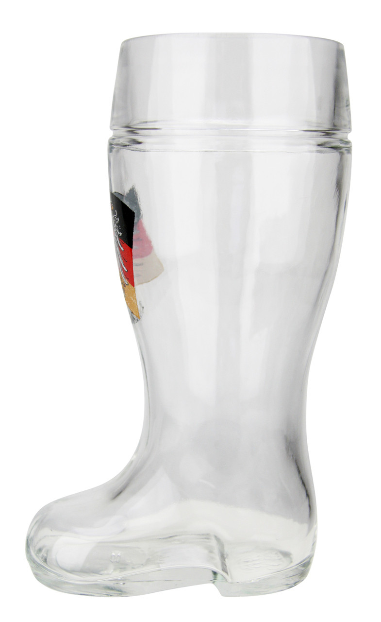 Side view of Authentic 1 Liter Glass Beer Boot