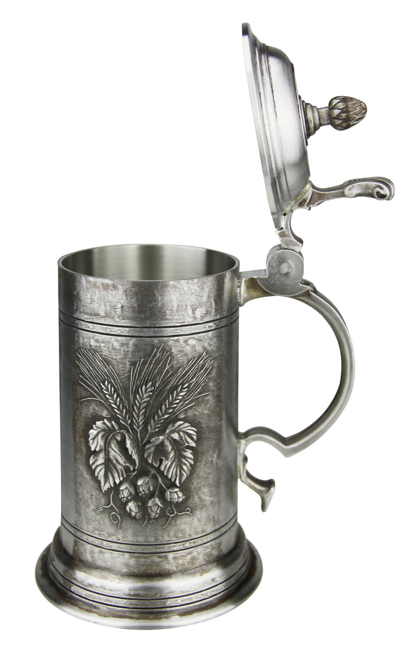 Brewers Harvest Hops and Barley Antique Style Pewter Beer Stein