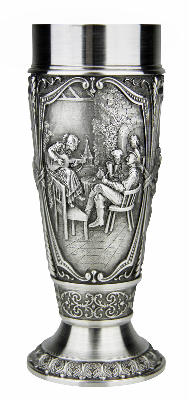 Pewter Pilsner Cup Depicting Beer Brewing - Collectible