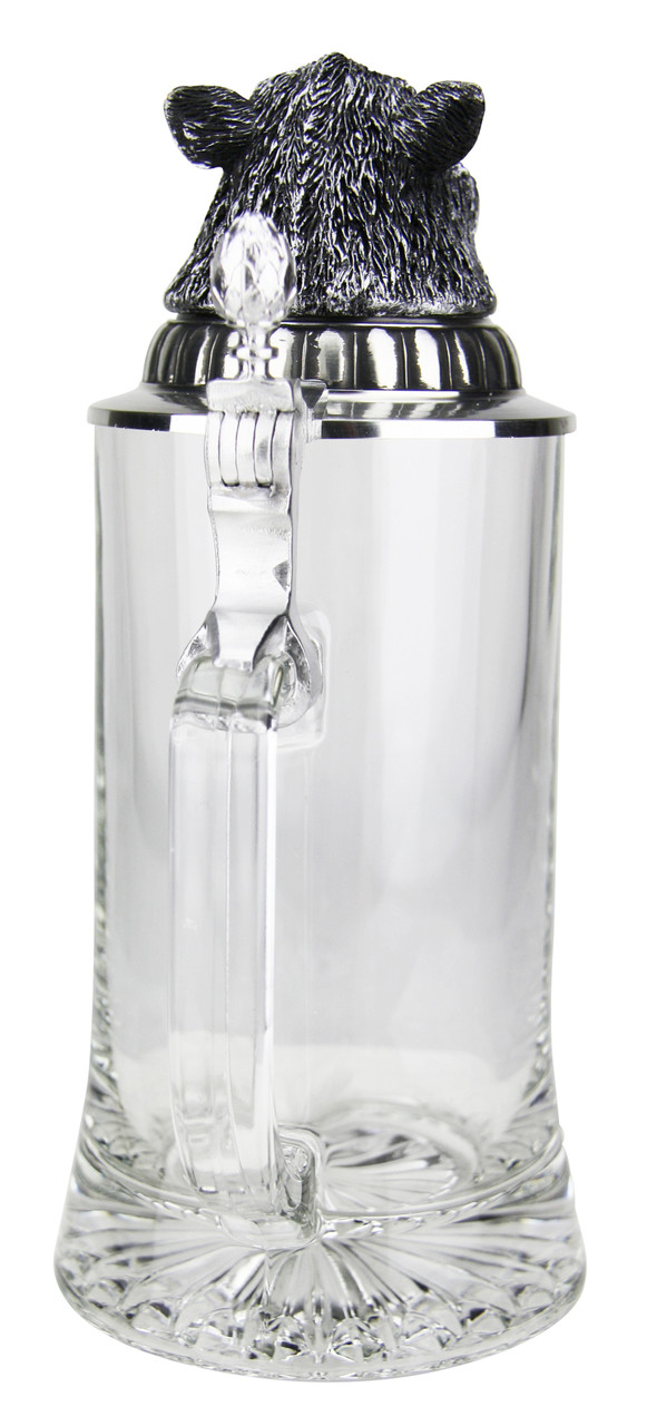 Handle View of Glass Beer Stein with Boars Head with Pewter Lid