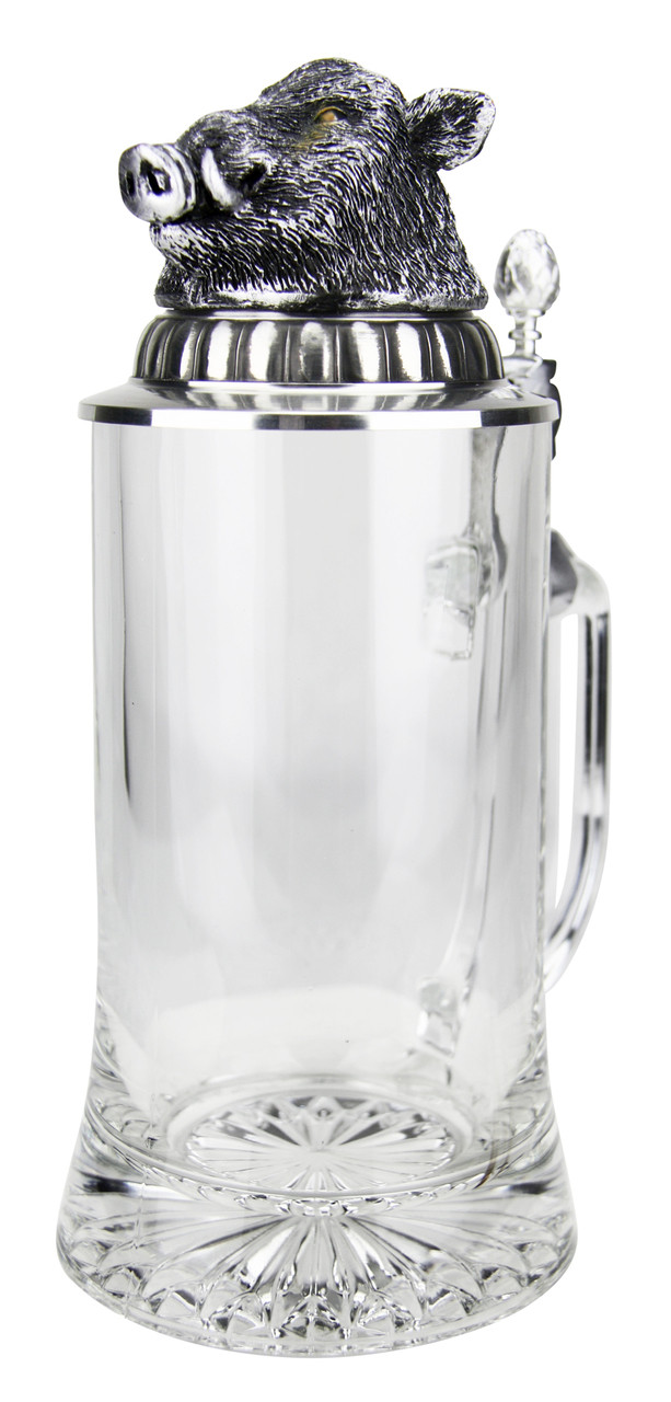 Boars Head Glass Beer Stein with Starburst Pattern on Bottom