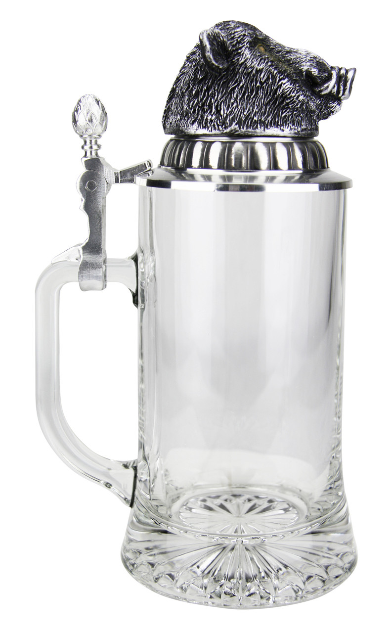 0.4L  German Glass Beer Stein with Pewter Lid