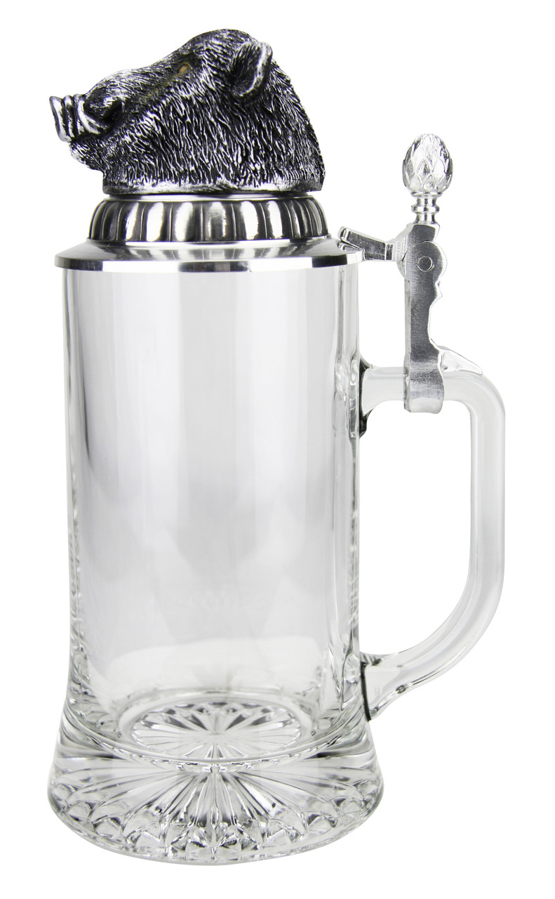Left Side View of 0.4L German Glass Beer Stein with Pewter Lid