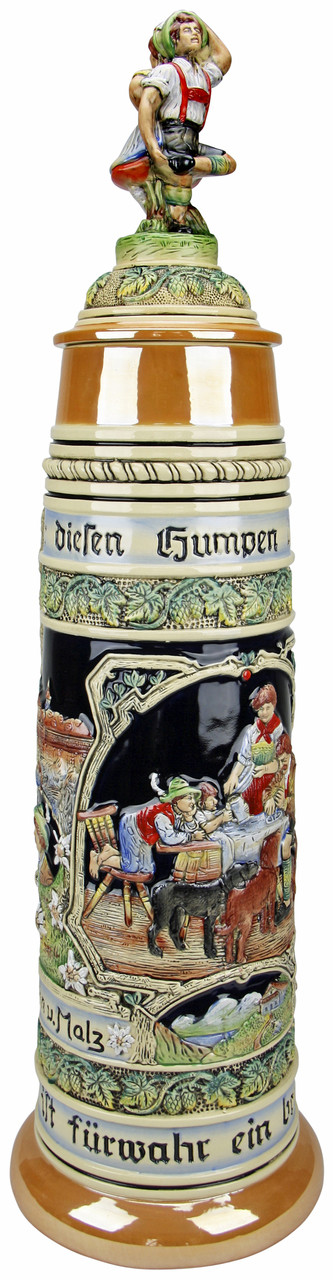 12 Liter Gold Mulit-Color Beer Stein with Dancing Bavarian Couple Lid