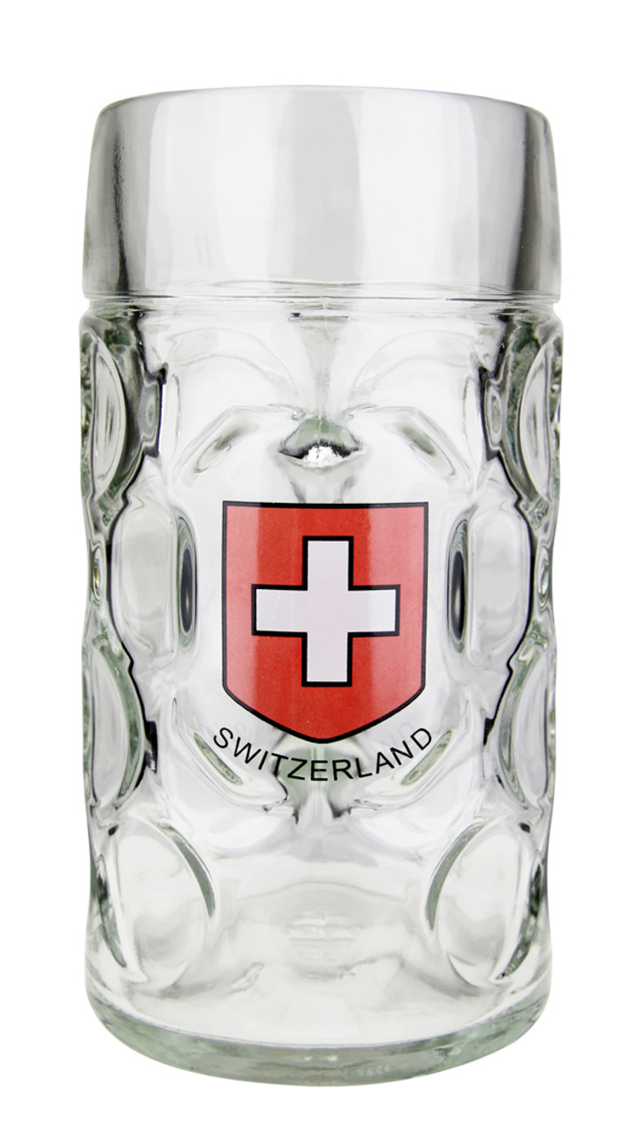 Swiss Cross Decorated 1 Liter Dimpled Glass Beer Mug
