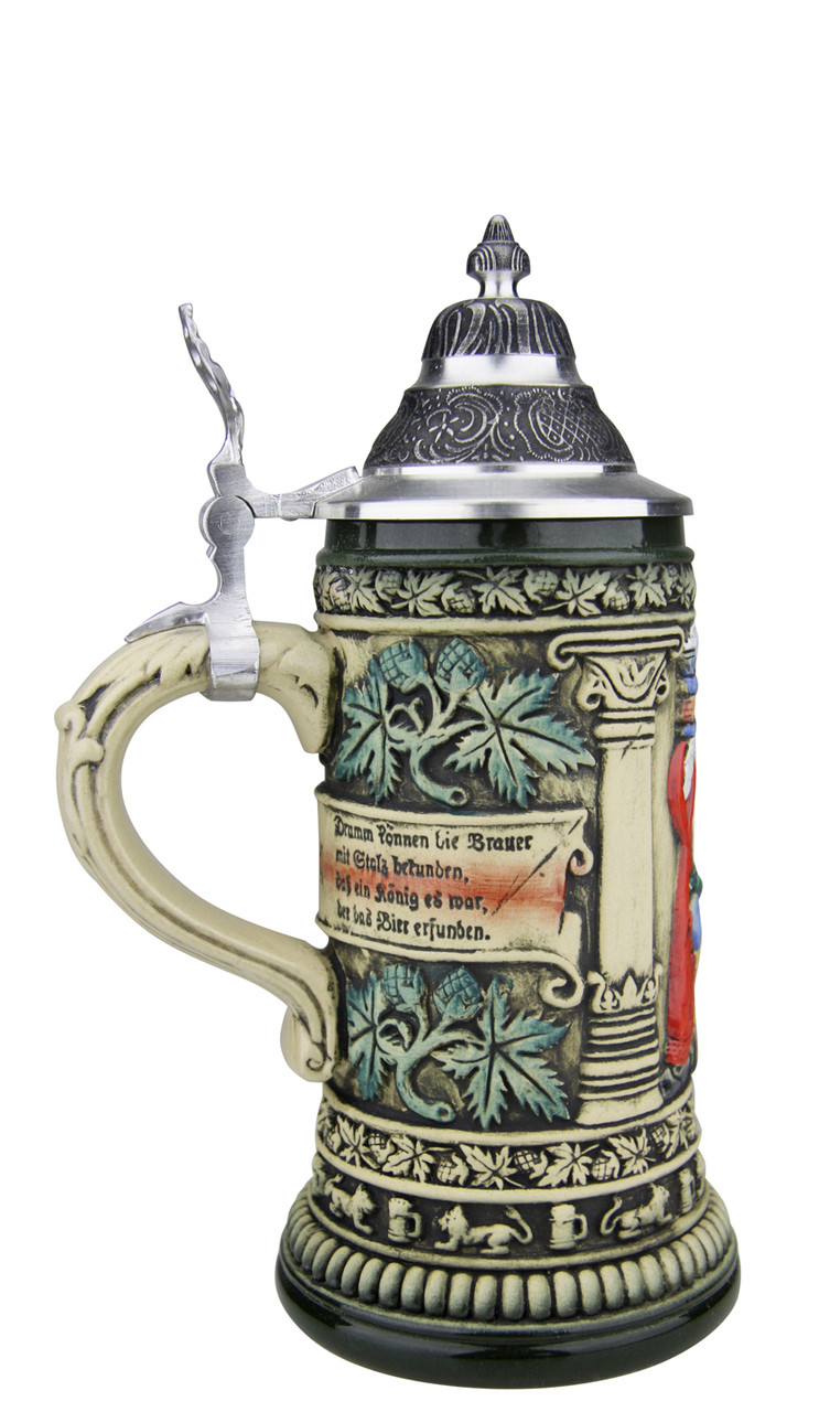 German Beer Stein with Pewter Lid and Green Glaze Finish