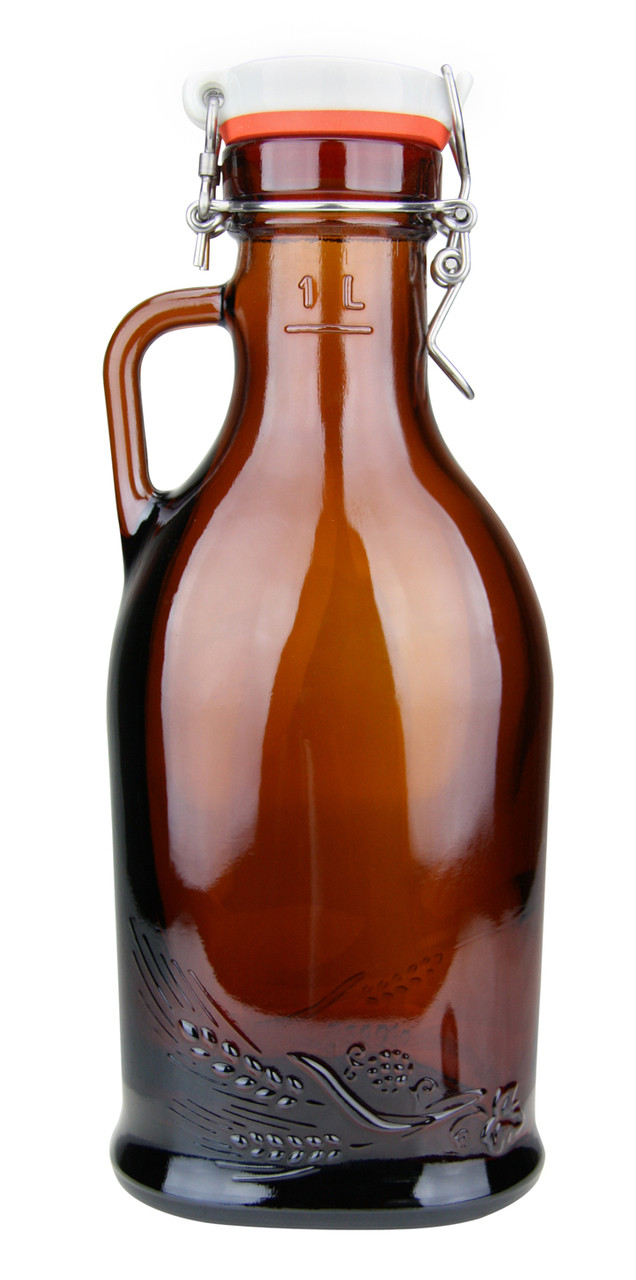 1 Liter Beer Growler with Porcelain Flip Top & Rubber Gasket & Glass Handle