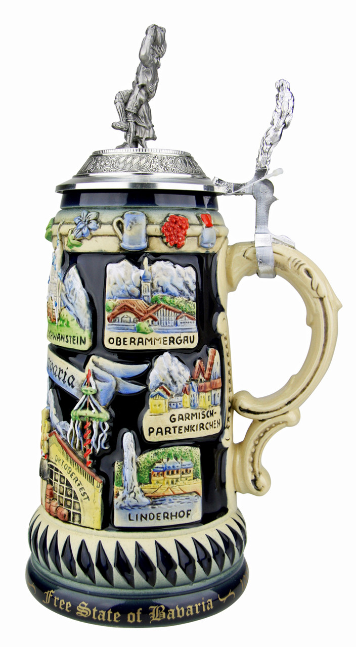 Limited Edition German Beer Stein with Pewter Lid and Bavarian Lion Thumblift