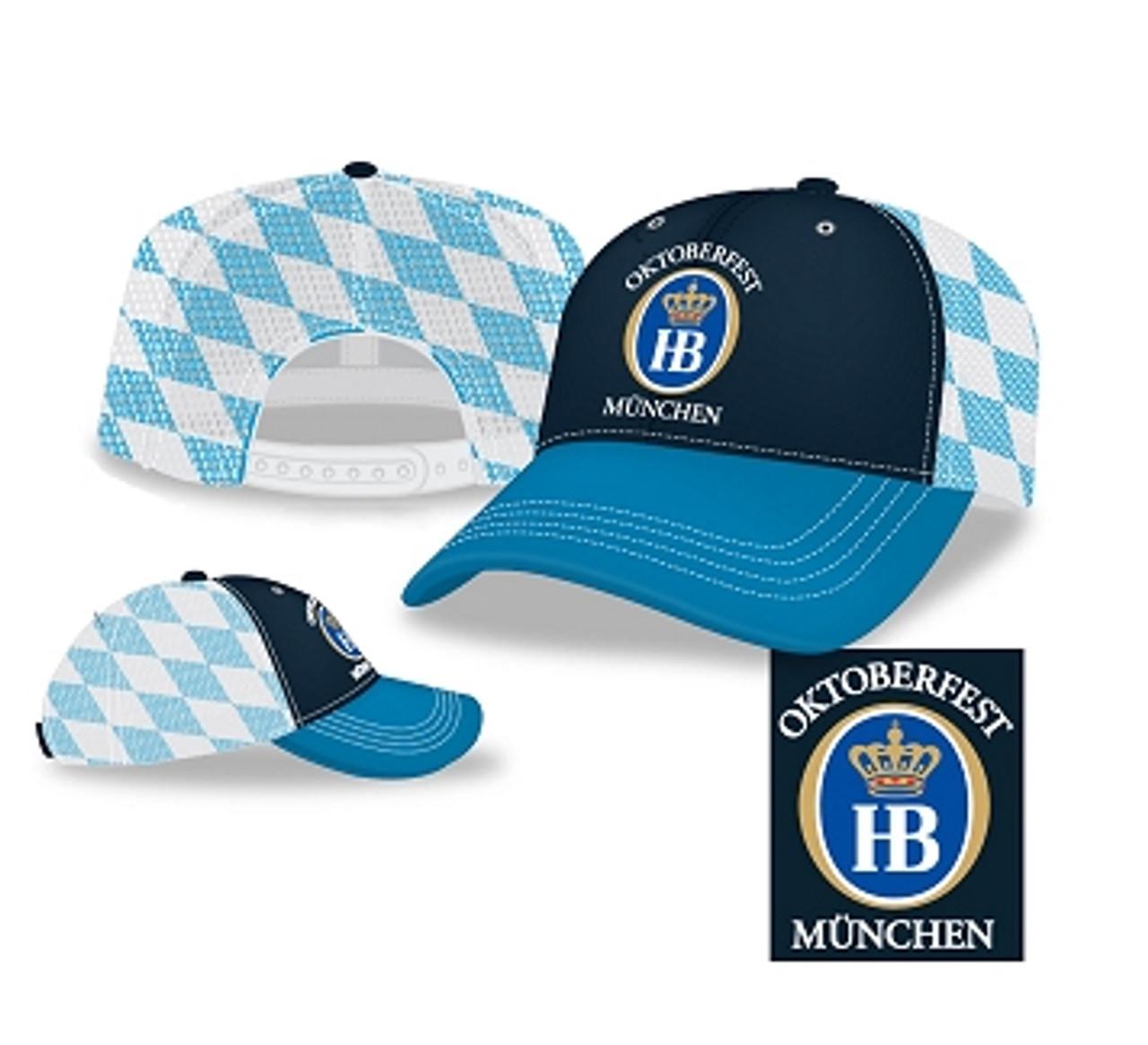 Hofbrauhaus HB Bavarian Flag Checkered Oktoberfest Cap