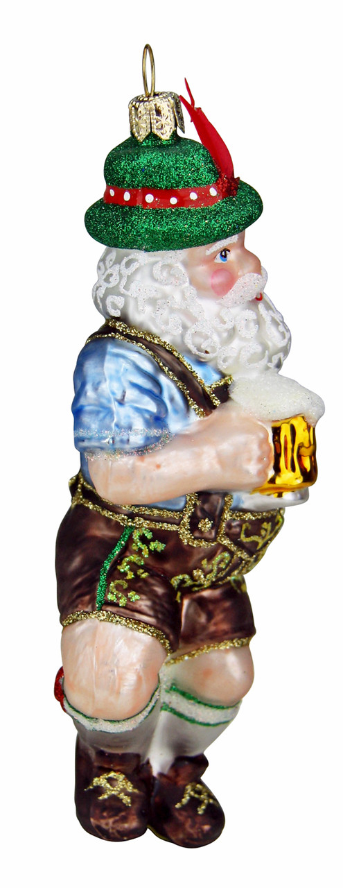 Dancing Bavarian Santa Glass Christmas Ornament