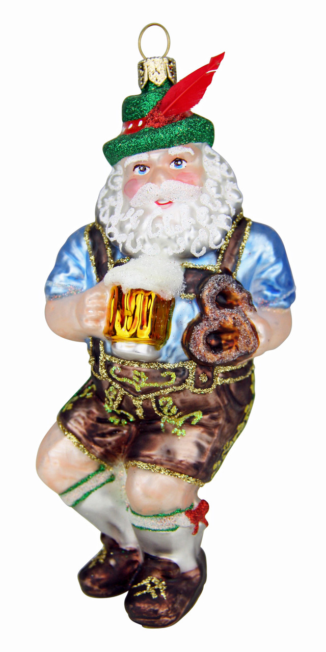 Dancing Bavarian Santa Glass Christmas Ornament