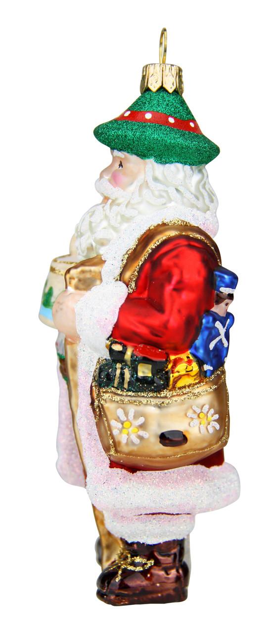 Bavarian Santa with Beer Stein Glass Christmas Ornament