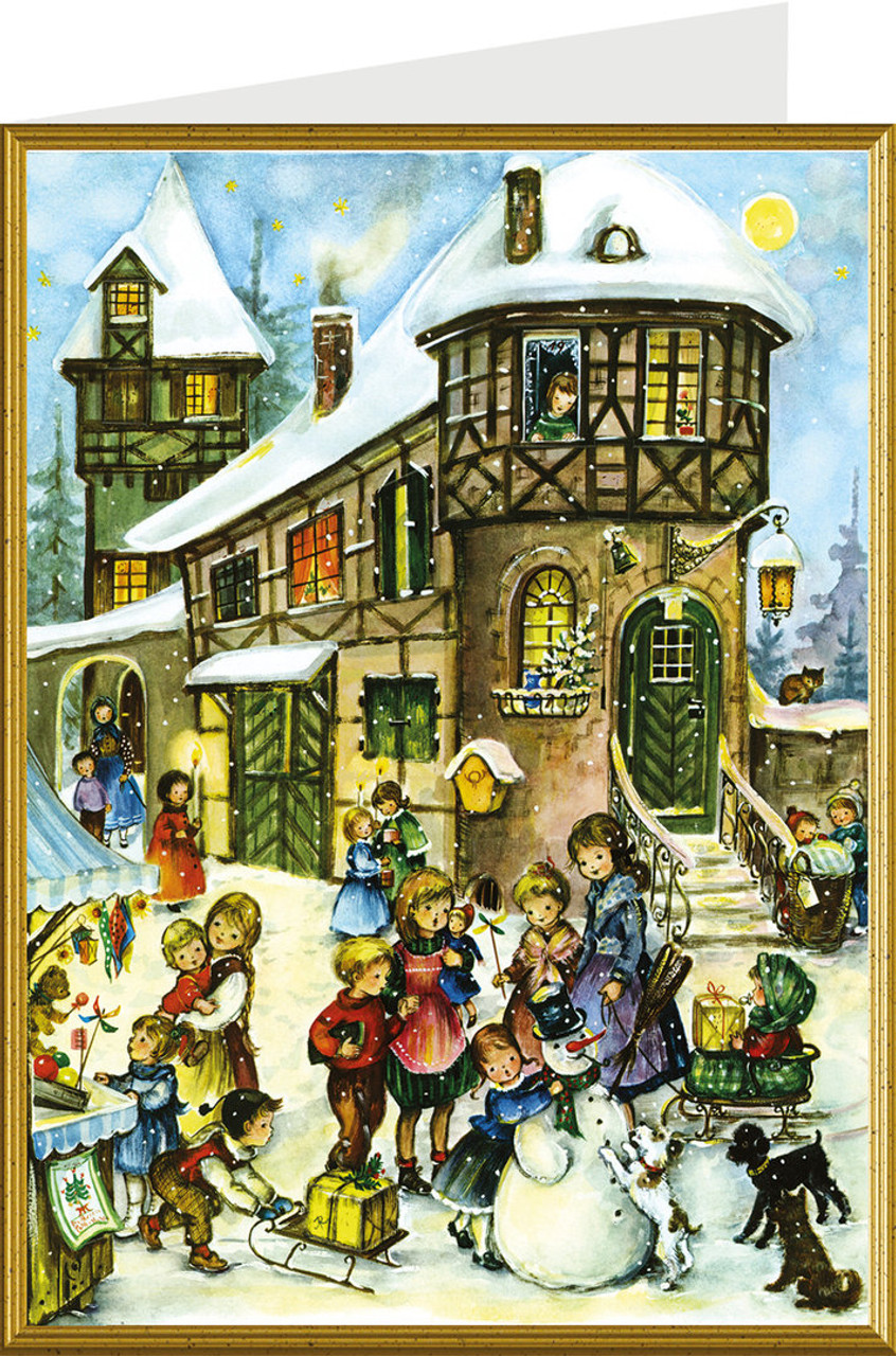 Village Snowman German Christmas Card