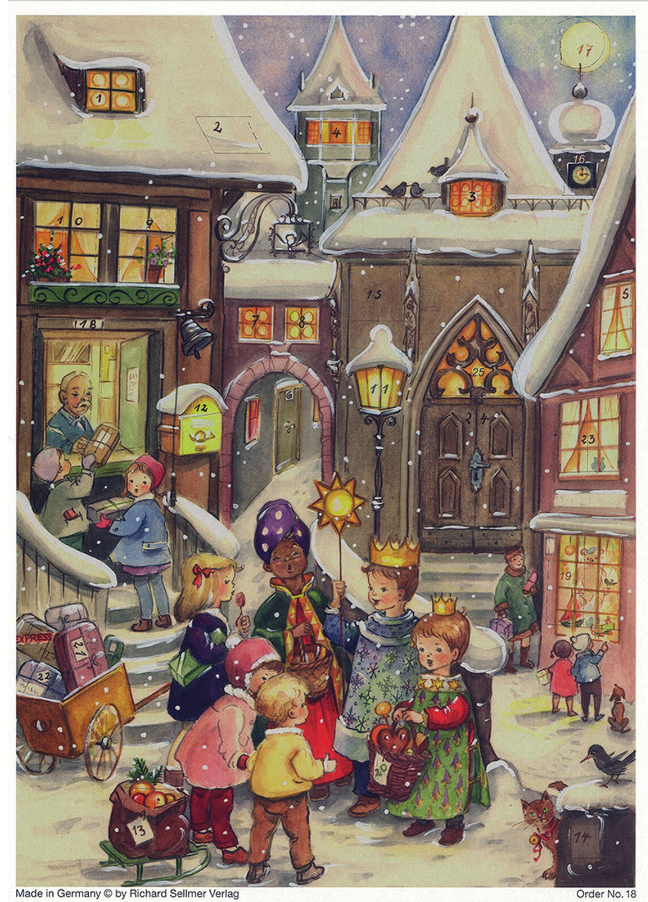 Three Kings 1960s Reproduction German Christmas Advent Calendar