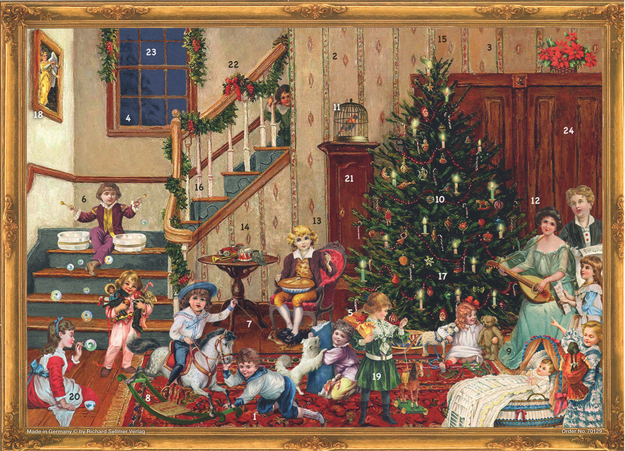 Victorian Christmas Tree.Victorian Christmas Day German Advent Calendar
