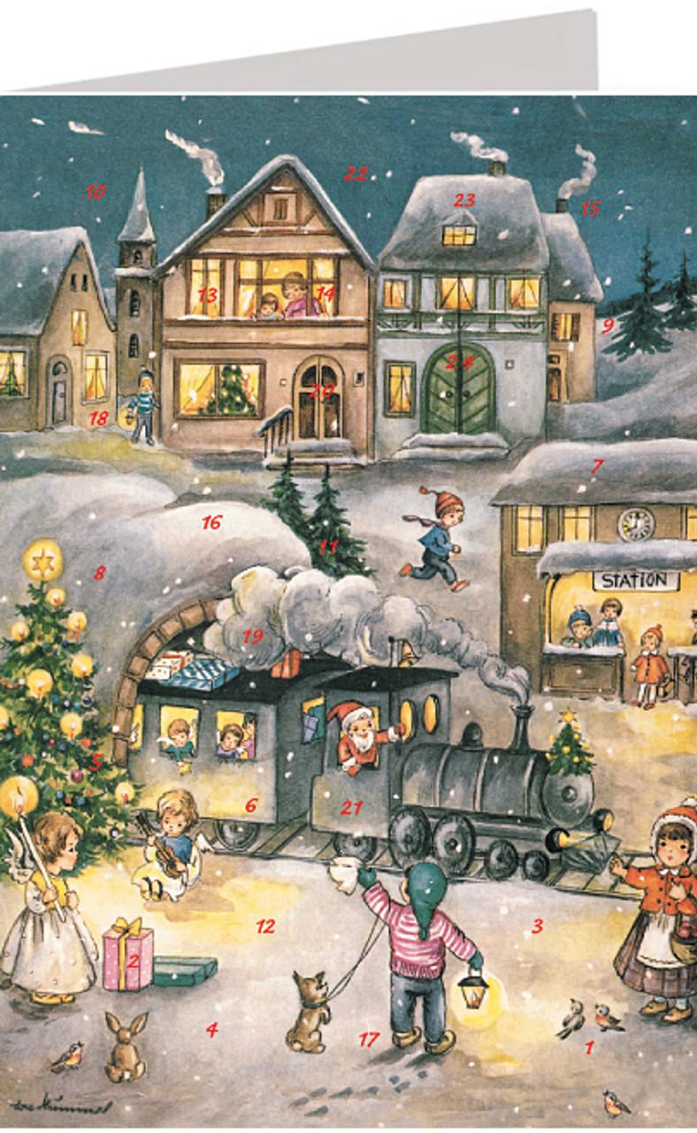 Santas Train German Advent Calendar Christmas Card