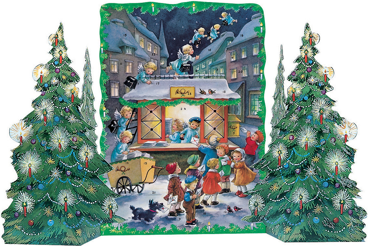 Angel Post Office Christmas Trees 3D German Advent Calendar