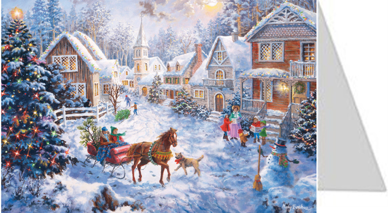 Christmas Village Sleigh Ride German Advent Calendar Christmas Card