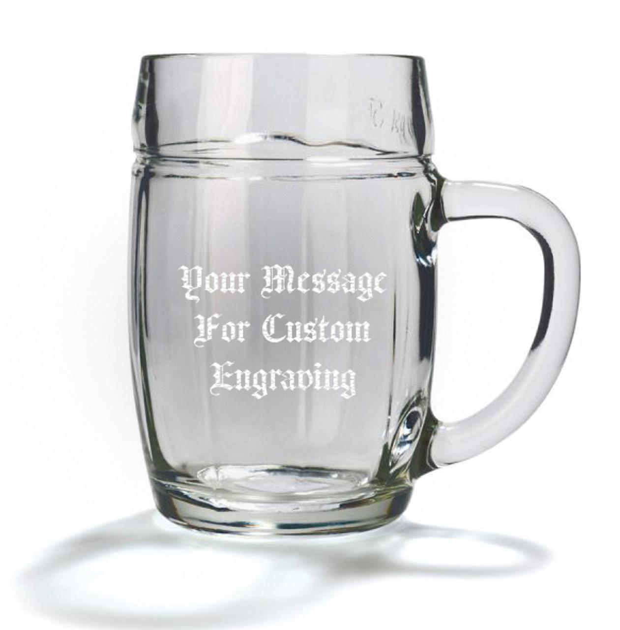 Custom Engraving Placement, 0.5L Mannheim Glass Beer Mug