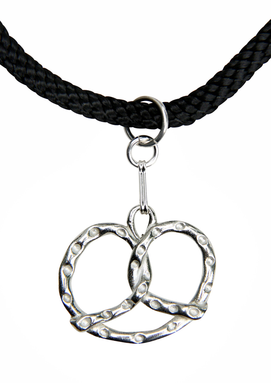Bavarian Pretzel German Pewter Dirndl Necklace