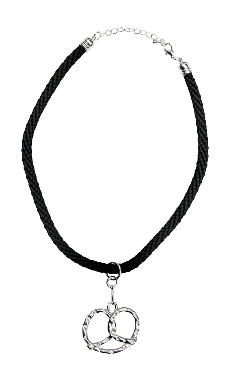 Bavarian Pretzel German Pewter Dirndl Necklace