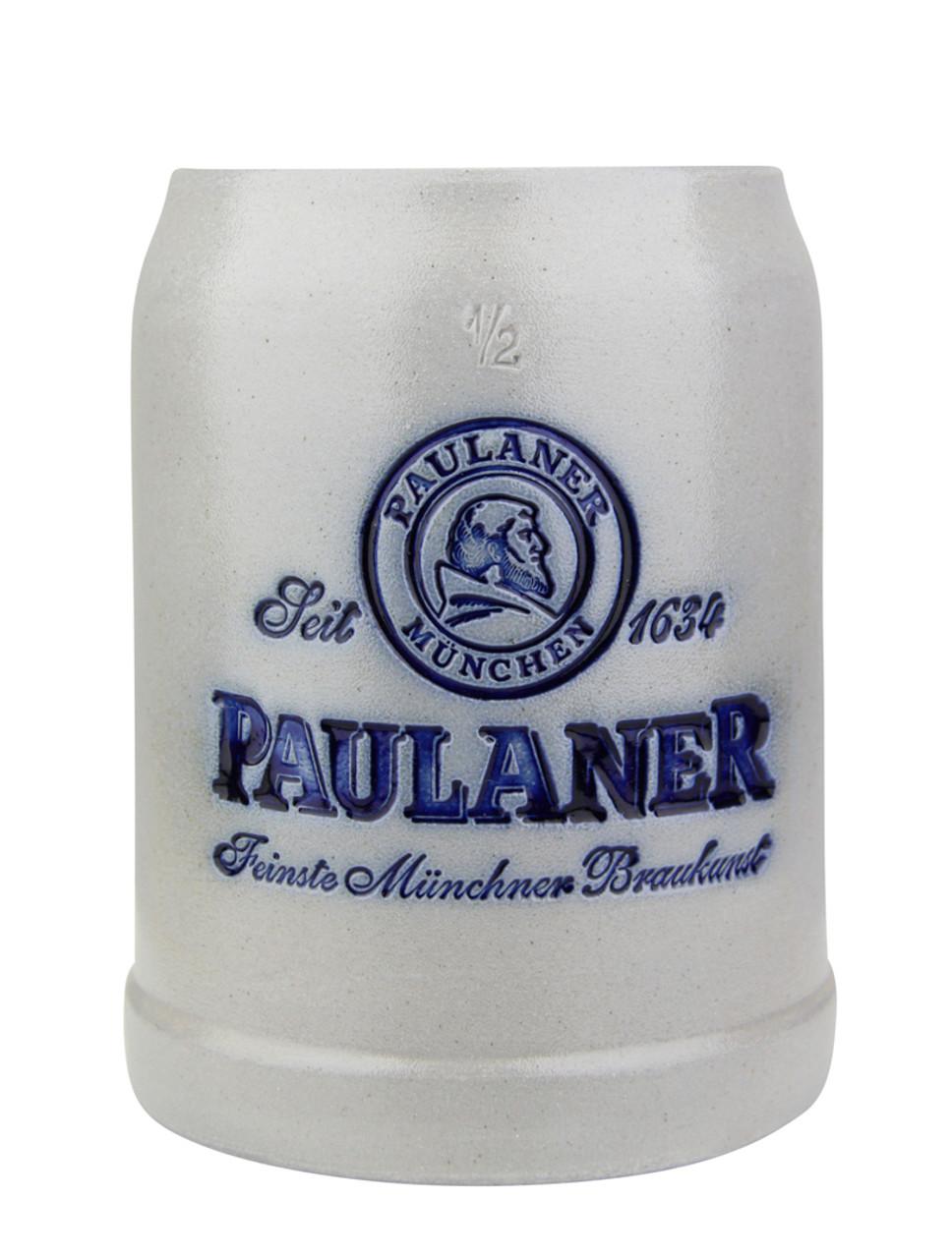 Paulaner Brewery 0.5 Liter Salt Glaze Stoneware Beer Mug