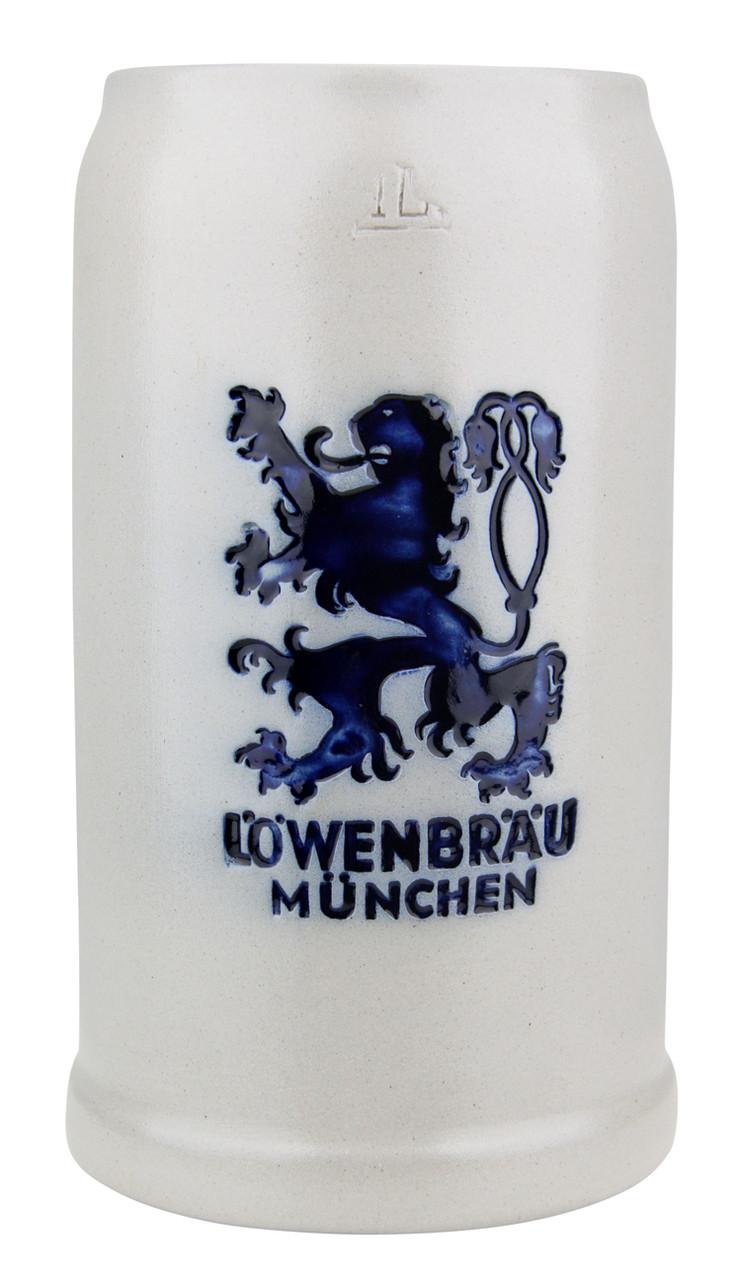 Gray Glazed Stoneware Lowenbrau Brewery Beer Mug