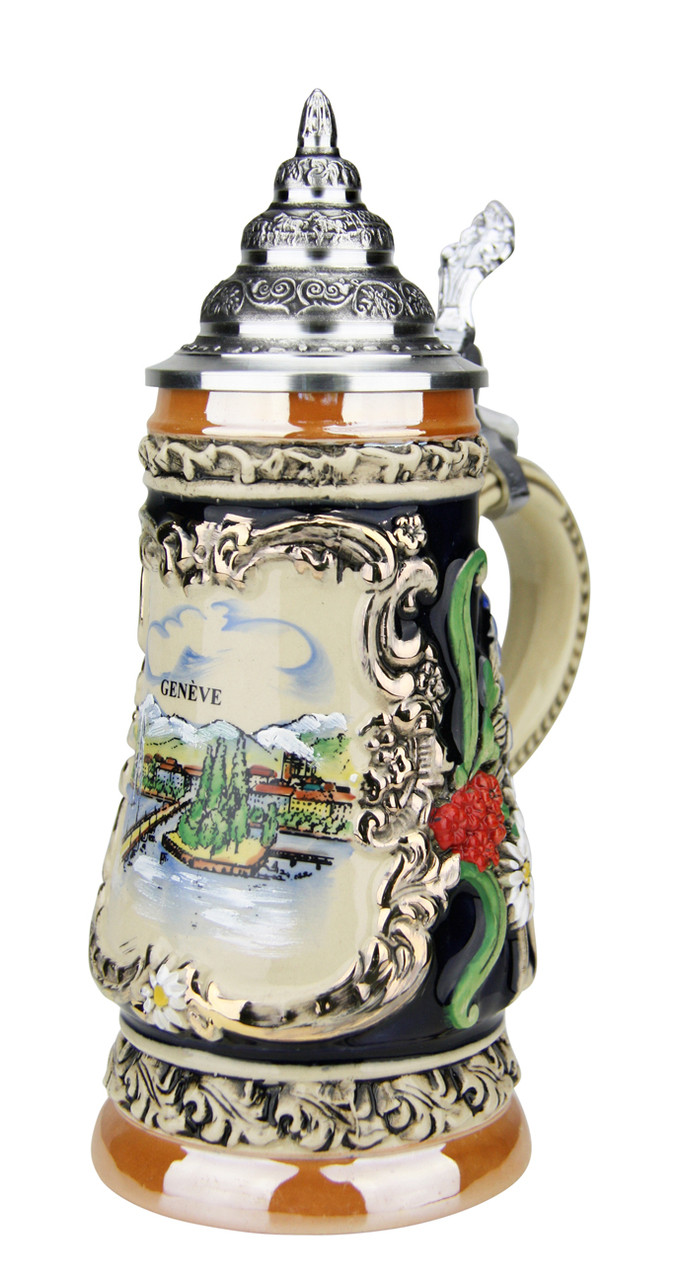 .25 Liter German Beer Stein with 24K Gold Accents & Pewter Lid