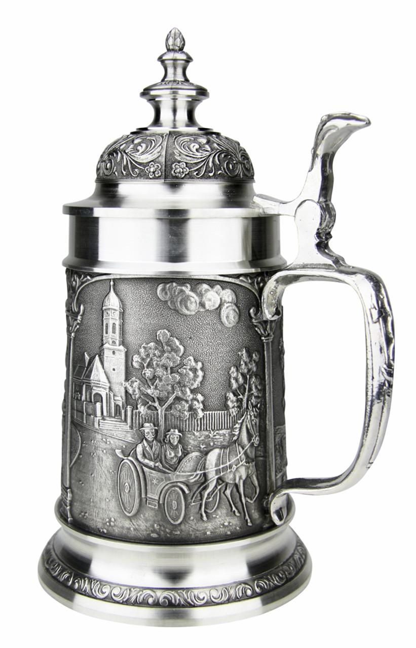 Bavarian Village Maypole Pewter Beer Stein